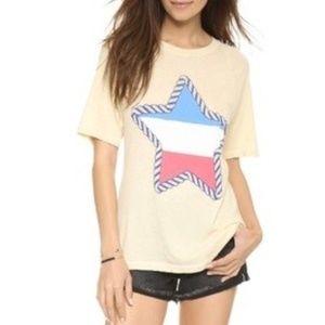 Wildfox Rope Star Perfect Soft Tee Shirt Yellow